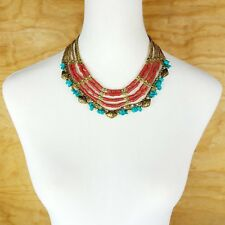 Ethnic Bone Gold Metal Beads Multi Color Strand Tribal Fashion Jewelry Necklace