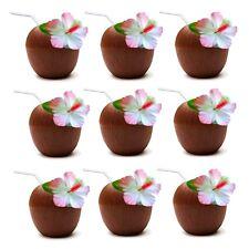 18 x Hawaiian Luau Hula Tropical Plastic Party Coconut Cup Drink & Straw QR05