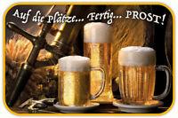 Auf die Plätze Prost ! Bier Blechschild Schild gewölbt Metal Tin Sign 20 x 30 cm