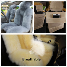 Genuine Australian Sheepskin Fur Car Front Seat Cover Winter Warm Grey Fluffy