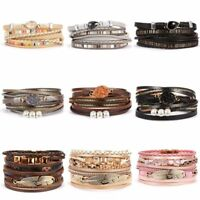 Multilayer Leather Bracelet Pearl Crystal Woven Wrap Bangle briaded Jewelry Set