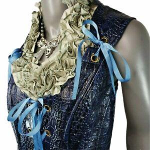 Corset Blue faux Dragon Skin Vest Costume Halloween SZ 18 Pirate Vampire Cosplay