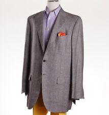 NWT $6995 KITON NAPOLI Brown Glen Check Cashmere-Linen Sport Coat 48 L (Eu 58L)