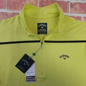 NWT Callaway Men's Weather Series Quarter Zip Stretch Pullover Sz XL Neon Green