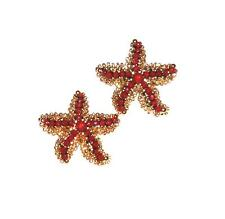 EARRINGS Studs GT Goldtone Dark Coral Red Textured Stars TINY STARFISH
