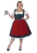 Oktoberfest German Fraulein Costume 3Pc Blk & Red Dress Apron & Pettiskirt Plus