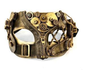Coolest Sickest Design 2019 Steampunk Style Gold color Men Masquerade Mask