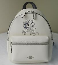Coach Disney 29353 Chalk Leather Minnie Floral Leather Mini Charlie Backpack