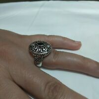 Ancient Victorian Sterling Silver Ring Natural Carnelian stone Old Vintage Gypsy