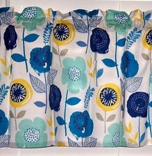 Blue Turquoise Yellow Mod Retro Floral Valance Window Treatment Curtain