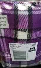 Brand Nwt Classic Plaid Purple/Black/White Microfleece Pillow Sham Standard Sz