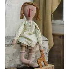 "Primitive Country Rustic 22"" Fabric "" DOLLY"" Rag Doll With Her Toys"