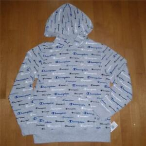 Boys Youth CHAMPION Script French Terry Hoodie Size M L NWT Logo Words Gray Girl