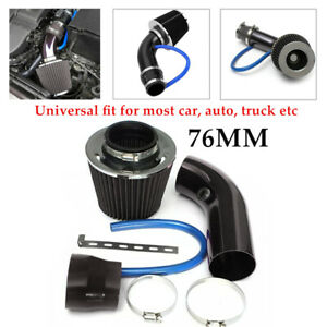 76mm Car Cold Air Intake Filter Induction Pipe Power Flow Hose System Aluminum