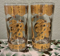 2 VINTAGE 22KT GOLD CULVER GLASSES - GOLD FRUIT