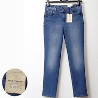 New M&S Indigo Collection POLE STRAIGHT Denim JEANS ~ Size 12 Medium ~ MID BLUE