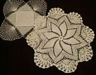 Two+Hand+Crocheted+Vintage+White+Doilies+Nice+condition