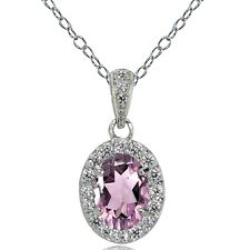 Sterling Silver Purple CZ and White Topaz Oval Halo Necklace