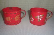 Metal Tin Vintage Primitive Tole Hand Painted Cups (2)