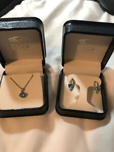 Blue Topaz White Gold Jewelry Set Earrings And Necklace With Diamonds (10&14kt)