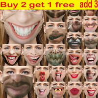 3D Printed Funny Face Mask Washable Breathable Mouth Protection Reusable UK