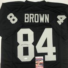 Autographed/Signed ANTONIO BROWN Oakland Black Football Jersey JSA COA Auto