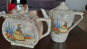 CHINTZ TEAPOT and COFFEE POT..CRINOLINE LADY..EMPIRE ENGLAND..c1930'