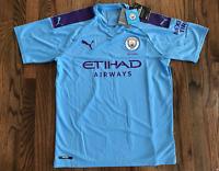 63 Puma Mens Manchester City Home Soccer Jersey Shirt Blue 755586 01 SM - LG