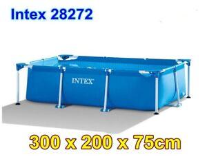 Intex Swimming Pool Rectangular Frame Steel Garden Outdoor 300cm x 200cm x 75