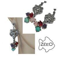ZéeO Bijoux boucles d'oreilles fantaisies originales plaqué argent femme pierre