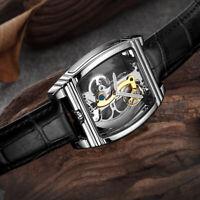 Watch NEW Mens Classic Flywheel Bridge Luxury Skeleton Mechanical Leather
