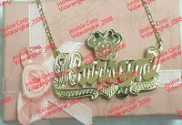 PERSONALIZED 14K GP 3D DOUBLE PLATED SCRIPT NAME PLATE NECKLACE / Any character