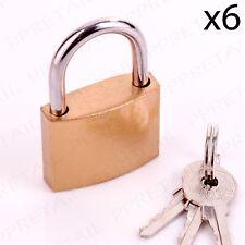 "6 x BRASS PADLOCK + 3 KEYS 1.5"" Gym Locker/Garage/Gate/Shed Door Security Lock"