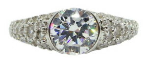 New lady's Solid .925 Sterling Silver 2.00ctw paved White Diamonique Ring Size 7