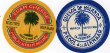 2 ORIGINAL VINTAGE  DUTCH CHEESE LABELS - PALM TREES