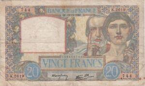 20 FRANCS SCIENCE ET TRAVAIL DU 19-12-1940