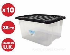 10 x 35 LITRI scatola di immagazzinaggio di plastica con coperchio nero! pesanti forte scatola-Utile Box!