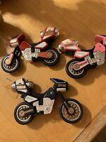 1996 Bandai - MMPR Power Rangers Lot Of 3 Motorcycles p79m