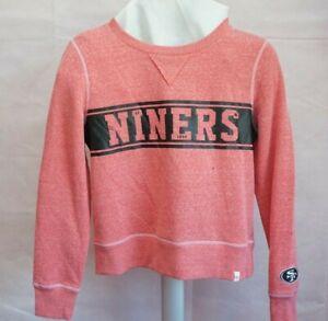 San Francisco 49ers NFL Womens 47 Brand Red Cropped Fleece Line Sweatshirt Small