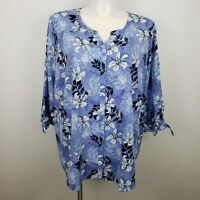 Catherines womens sz 3X 26 28W button up blouse top blue floral dressbarn NWT
