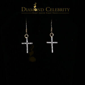 10K Yellow Gold Finish Lab Created Diamond Silver Cross Dangling Earring