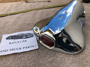 NEW CHROME METAL VINTAGE STYLE EXHAUST TIPS WITH A RED JEWEL