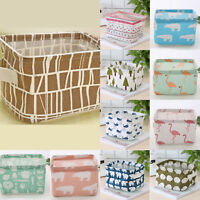 Canvas Linen Basket Desk Table Storage Holder Pouch Bag Cosmetic Organizer Box