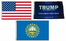 3x5 Trump #1 & Usa American & State of New Hampshire Wholesale Set Flag 3'x5'