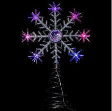 New Elegant LED Light Up Snowflake Tree Topper Colour Changing