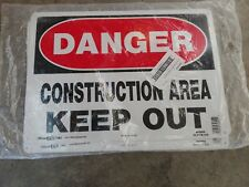 """Danger Warning Construction Area Keep Out 100% Aluminum Sign 10""""x14"""" Brand New"""