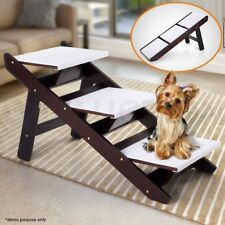 Portable 3 Steps Foldable Doggy Cat Pet Stairs Ramp Ladder W/ Sheepskin-like Mat