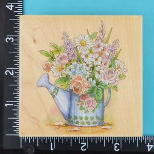 Sprinkling Can 50030 Flower Bouquet Stamps Happen Wood Mounted Rubber Stamp