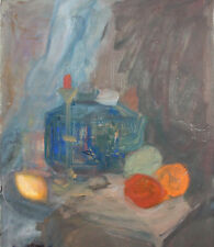 Expressionist oil painting still life with fruits and candlestick signed