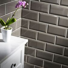 Sample of gloss dark grey metro bevelled edge ceramic wall tiles 10 x 20cm